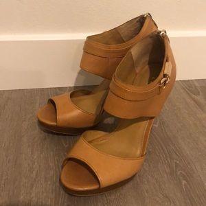 Coach tan leather open toe heels
